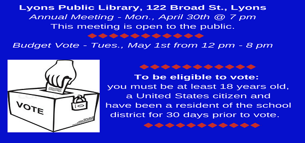 Lyons Public Library Annual Meeting & Vote