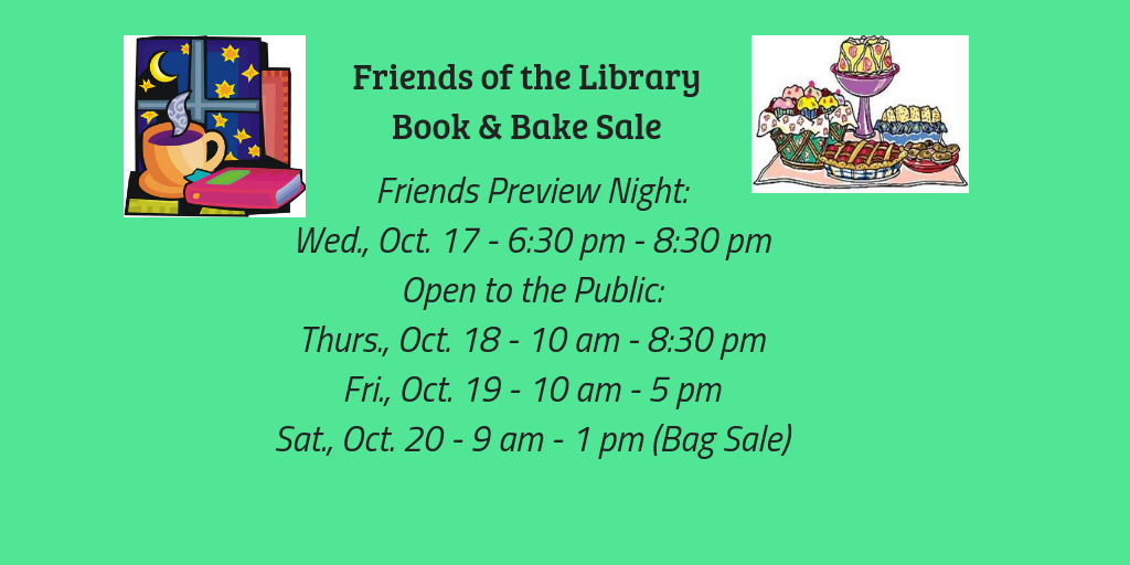 Friends Annual Book & Bake Sale is coming!